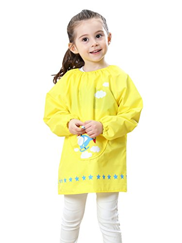 Kids Multifunctional Painting Smock Cute Plane Printing Children's Waterproof Pullover Long Sleeve Bib with Pocket Drawing Apron Yellow 4-6 T by DAWNTUNG