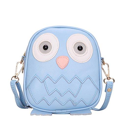 LuckyZ Litter Girls PU Leather Cute Cartoon Owl Tote Purse Handbags Shoulder Shopping Bag, Blue