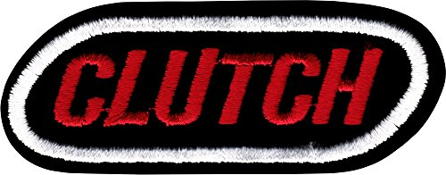 Clutch Red Logo with White Oval on Black Iron Sew On Patch / (Applique Clutch)