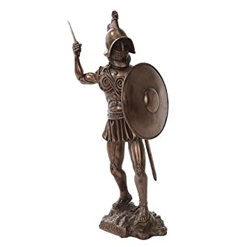 PTC 11 Inch Bronze Colored Spartacus with Shield Figurine Statue