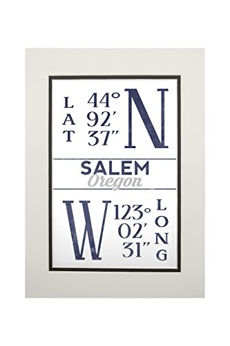 Salem, Oregon - Latitude and Longitude (Blue) (11x14 Double-Matted Art Print, Wall Decor Ready to - Frame Oregon Shop Salem
