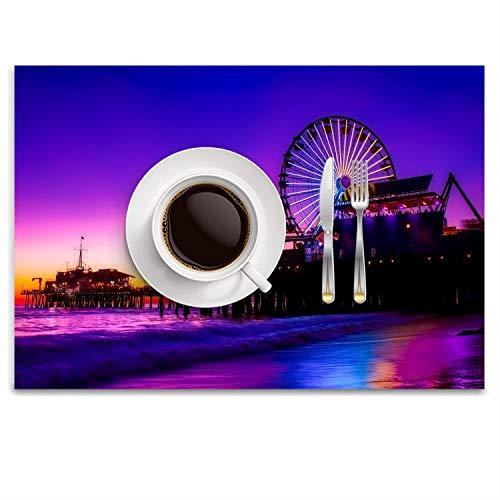GPUnfdvc Santa Monica Pier Amusement Washable Fabric Placemats for Dining Room Kitchen Table Decor,14.8 x 9.9 inch