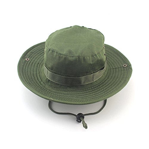 YOEDAF Mens Summer Cotton Hats Cap for Outdoor Fishing Climbing Jungle Military Camouflage Bob Camo Bonnie Hat (Army Green)