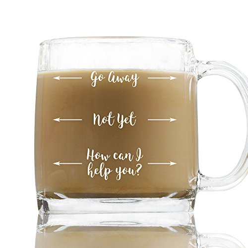 13 Oz Coffee Mug - Go Away, Not Yet, How Can I Help You, Coffee Glass With White Print, Office Humor Gift Secretary Day Boss Appreciation