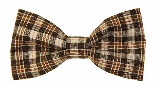 Men's Brown/Tan Plaid Clip On Cotton Bow Tie Novelty Bowtie