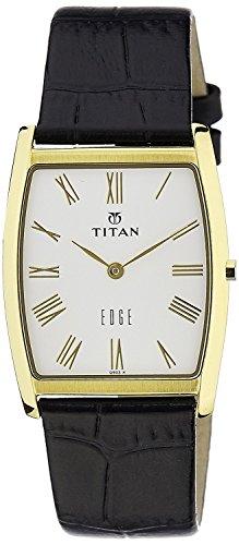 Titan Men's Edge Mineral Quartz Glass Slim Analog Wrist Watch- Ultra Slim Watch with Metal/ Leather Strap (Titan Edge)