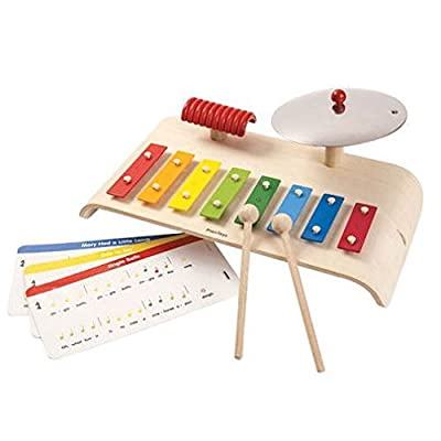 PlanToys Wood Musical Playset with Xylophone, Cymbal, and Guiro (6422) | Sustainably Made from Rubberwood and Non-Toxic Paints and Dyes: Toys & Games