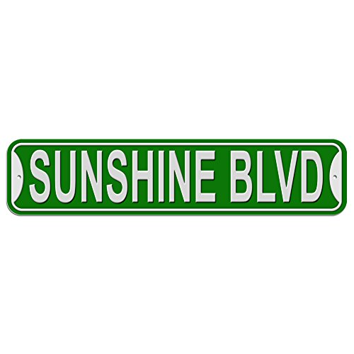 Sunshine Blvd Boulevard Sign - Plastic Wall Door Street Road Female Name - Green
