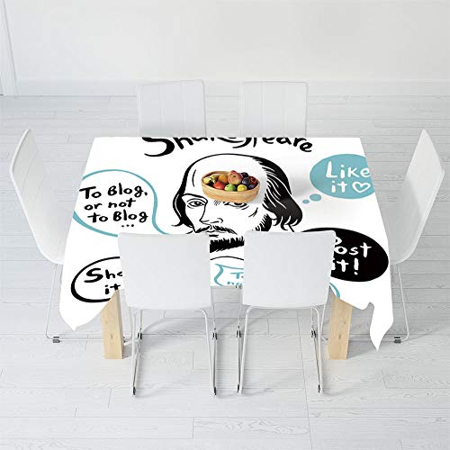 Fashionable Tablecloth,Funny,for Secretaire Square Table Office Table,90.2 X 72 Inch,Shakespeare Portrait with Speech Bubbles and -