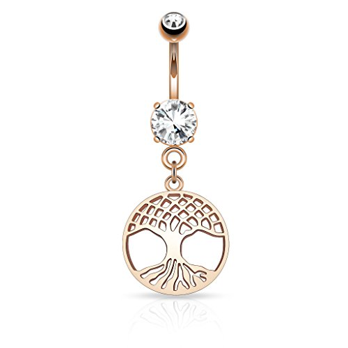 Pierced Owl 14kt Rose Gold Plated Tree of Life Crystal Set Dangling Belly Button Navel Ring