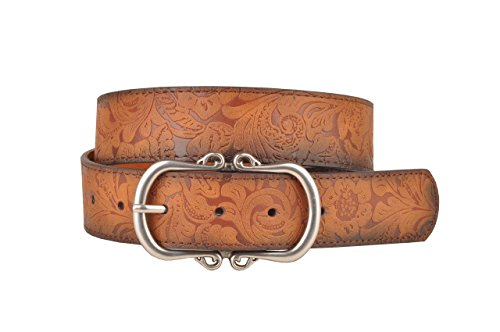 Tan Leather Belt with Floral Embossment and Silver Belt Buckle (L)