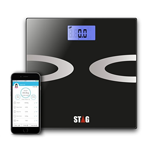 Digital Body Fat Scale - Best Smart Wireless - Weight - Bathroom - Body Composition Analyzer with iOS and Android App for Body Weight - Fat - Water - Bmi - Muscle Mass - 396 lbs by STАG