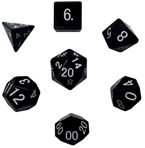 Custom & Unique {Standard Medium} 7 Ct Pack Set of [D4, D6, D8, D10, D12, D20] Assorted Polyhedral Shapes Playing & Game Dice Made of Obsidian Gemstone w/ Simple Classy Design [Black & White] by mySimple Products