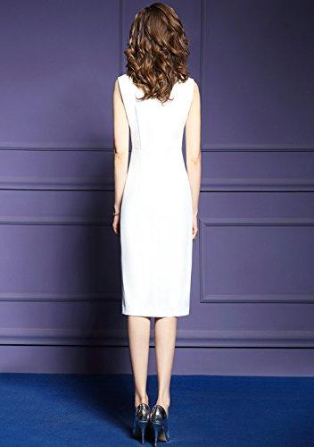 Cotylédons Women`s Robes Sans Manches Corps Élégant Con Robe Blanche V-cou