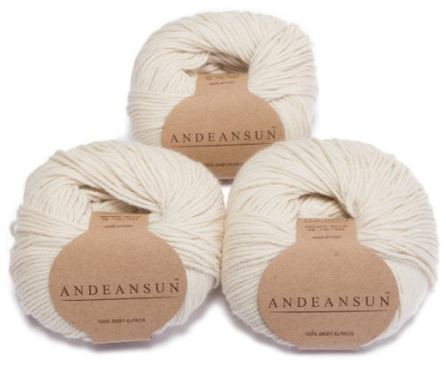 (100% Baby Alpaca Yarn Skeins - Set of 3 Ivory - AndeanSun - Luxuriously Soft for Knitting, Crocheting - Great for Baby Garments, Scarves, Hats, and Craft Projects Ð Ivory)