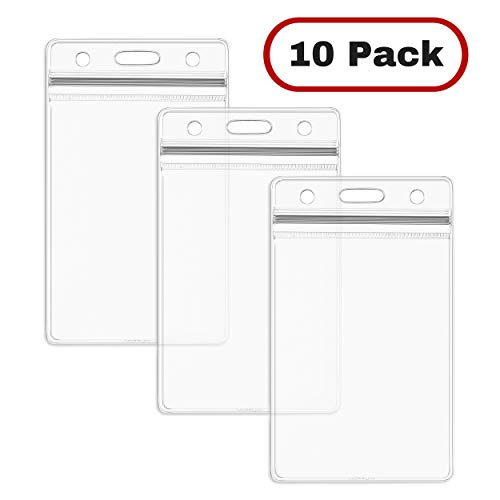 MIFFLIN ID Card Holder (10 Pack), Clear Plastic Badge Holder, Resealable, Waterproof, Vertical Style