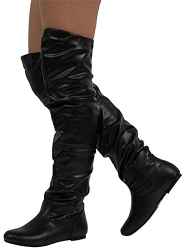 the Boots Slouchy Black Women's HI Pu Knee Nature Breeze VICKIE Over xFq7w8Xw