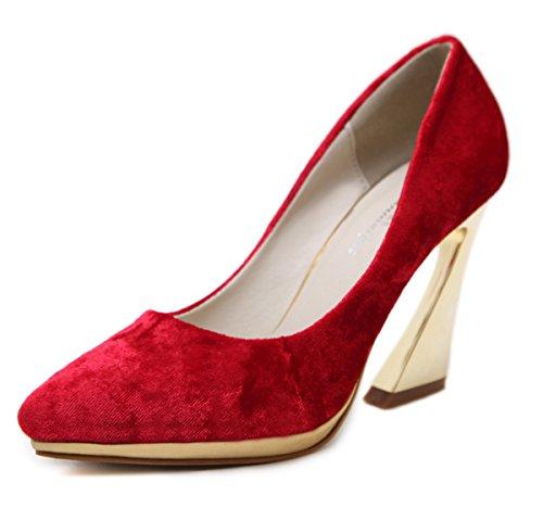 Aisun Womens Pointed Toe Low Cut Dressy Elegant Wedding Platform Slip On High Heeled Pumps Shoes Red