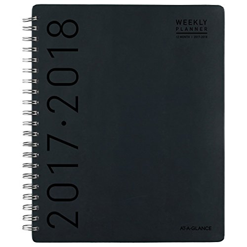 "AT-A-GLANCE Academic Weekly / Monthly Appointment Book / Planner, July 2017 - June 2018 , 8-1/2"" x 11"", Contempo, Black (70957H00)"