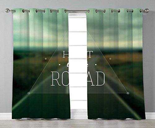 Highway Triangle (Thermal Insulated Blackout Grommet Window Curtains,Adventure,Hit the Road Quote inside a Transparent Triangle with Blurred Highway Background,Multicolor,2 Panel Set Window Drapes,for Living Room Bedro)