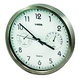 Timco RA-24B RA-24B Reloj de Pared Acero Inoxidable Grande caratula Blanca medidor de Temperatura y Humedad