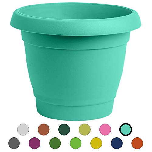 ALMI Carmel Round Planter 9 Inch, Plastic Rounded Pot For Garden, Elegant Shaped Flower Tree, Tapered Planters For Plants, Small Trees, UV Resistant Paint, Indoor & Outdoor, Turquoise