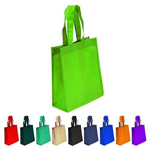 10 Pack Lime Green Reusable Tote Bags, Heavy Duty Non-woven Polypropylene, Small Gift Tote Bag, Book Bag, Non Woven Bag Multipurpose Art Craft Screen Print School Bag (Lime Green, Set of 10) (Lime Green Book Bags)