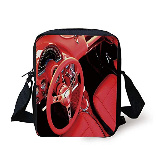 Cars,Inner View of Exquisite Sports Car Steering Wheel Valuable Aesthetic Retro Auto Details Print,Red Print Kids Crossbody Messenger Bag Purse