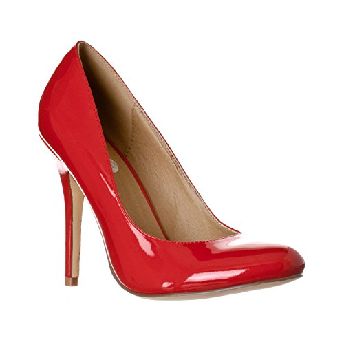 Riverberry Women's Piper Round Toe High Heel Pumps, Red Patent, (Sexy Red Patent Shoes)