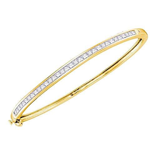 Roy Rose Jewelry 14K Yellow Gold Womens Princess Diamond Bangle Bracelet 2 Carat tw 2ct Tw Diamond Setting