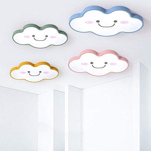 LITFAD Modern Dimmable Ceiling Light 19.68 Wide Ultralight Cartoon Creative Personality Smile Face Design LED Flush Mount Pendant Light in Green Finish for Girls Room,Kids Bedroom,Study Room