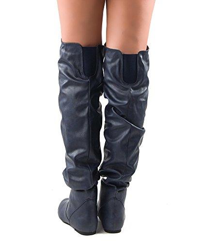 RF RAUM DER MODE Trend-Hi Over-the-Knee Oberschenkel hohe flache Slouchy Welle Low Heel Stiefel Blauer Pu