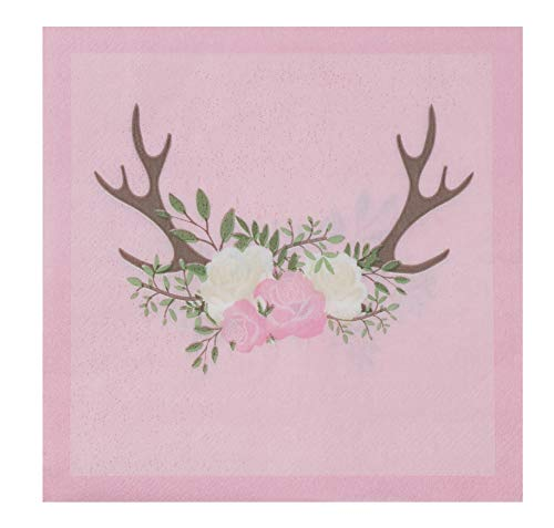 Cocktail Napkins - 150-Pack Luncheon Napkins, Disposable Paper Napkins, Bridal and Baby Shower Party Supplies, 2-Ply, Floral Deer Design, Unfolded 13 x 13 Inches, Folded 6.5 x 6.5 Inches