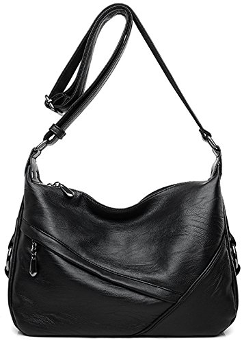 Women's Retro Sling Shoulder Bag from Covelin, Leather Crossbody Tote Handbag Black ()