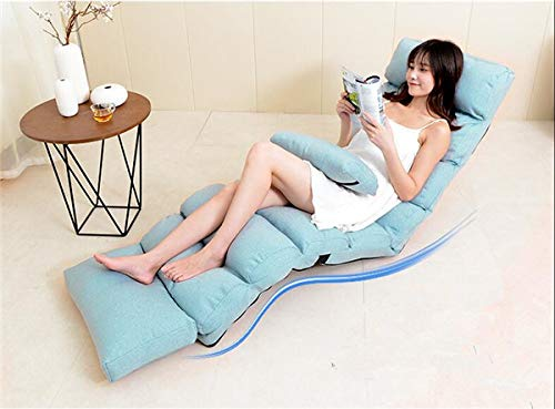 (QIANLAI Modern Sofa Bed Lounge Upholstered Chaise Indoor Living Room Reclining Chair 5 Color Floor Folding Adjustable Sleep Lounger,A)