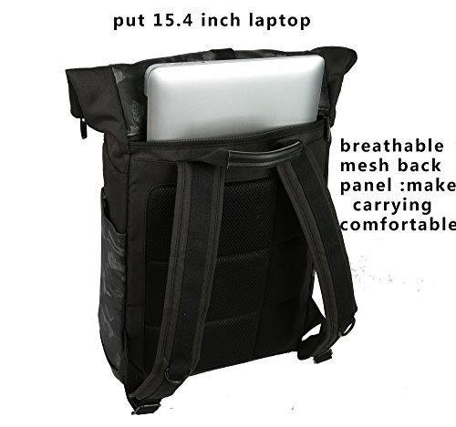 Cai 15,4 Laptop-rucksäcke Student Backpack Rolltop Rucksack Water Resistant Satchel Laptop Doppel Fächer Tasche Schulwandern Reisetasche Outdoor Riding Tasche für Männer Frauen 5196 Camouflage Camouflage