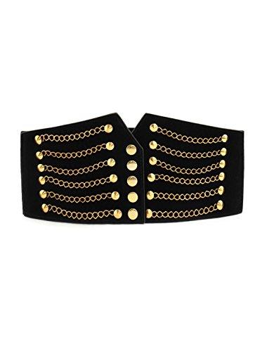 - SourcingMap Women Gold Tone Chain Front Elastic High Waist Belt Cinch Black