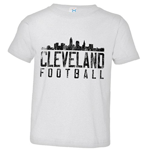 PleaseMeTees Toddler Cleveland Football Distresed Browns Skyline HQ Tee-White-2