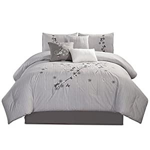 Chezmoi Collection Rowland 7-Piece Chic Sakura Floral Flowers Embroidered Comforter Set Queen Size