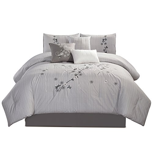 Chezmoi Collection Rowland 7-Piece Chic Sakura Floral Flowers Embroidered Comforter Set King Size, Gray