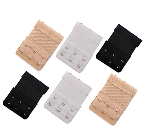 ReachTop Women Bra Extender 3-Hook Bra Back Band Extension, 6-Pack, 3 Colors