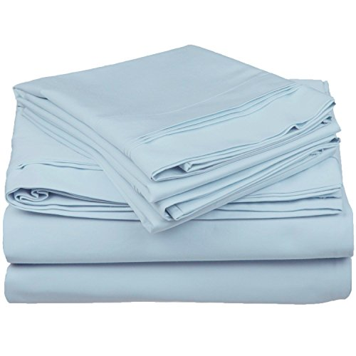 Blue Single Set (100% Egyptian Cotton 650 Thread Count, King 4-Piece Sheet Set, Deep Pocket, Single Ply, Solid, Baby Blue)