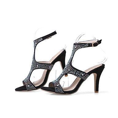 LvYuan Mujer-Tacón Stiletto-Innovador Zapatos del club-Sandalias-Vestido Informal Fiesta y Noche-Terciopelo-Negro Azul Morado Blue