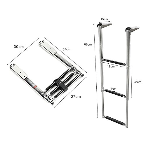 Prairie Metal Telescoping 3 Step Ladder Extensionable Swim Step Boat Ladder with Wider Steps Stainless Steel for Marine Boat Yacht Swimming Pool ()