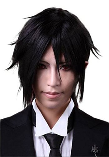 Akuma Costume Wig (Nuoqi Men's Anime Sebastian Black Mixed Hairs Cosplay Wig JF299)