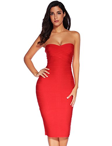 7d4543f67 Meilun Women s Rayon Strapless Below Knee Bandage Bodycon Party Dress  (Large