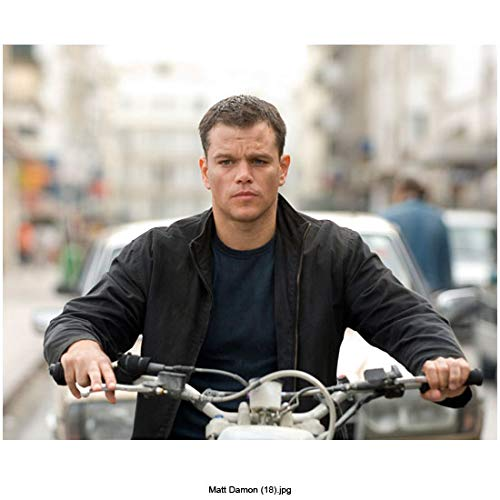 (Matt Damon 8 Inch x 10 Inch PHOTOGRAPH Saving Private Ryan Good Will Hunting The Departed Sitting on Motorcycle Wearing Black Over Blue kn)