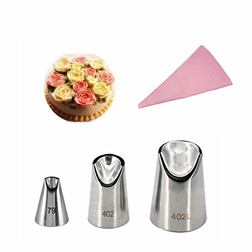 GOOTRADES 3 Pcs-Set Russian Icing Piping Nozzle Tips (No.79,402,402L) with Free Pastry Bag ()