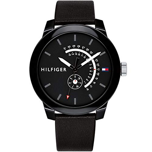 (Tommy Hilfiger Men's 'Denim' Quartz Plastic and Leather Watch, Color:Black (Model: 1791479))