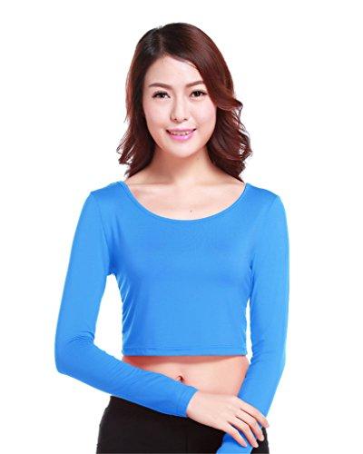 GladThink la mujer musulmana camiseta de manga larga de media longitud y LakeAzul